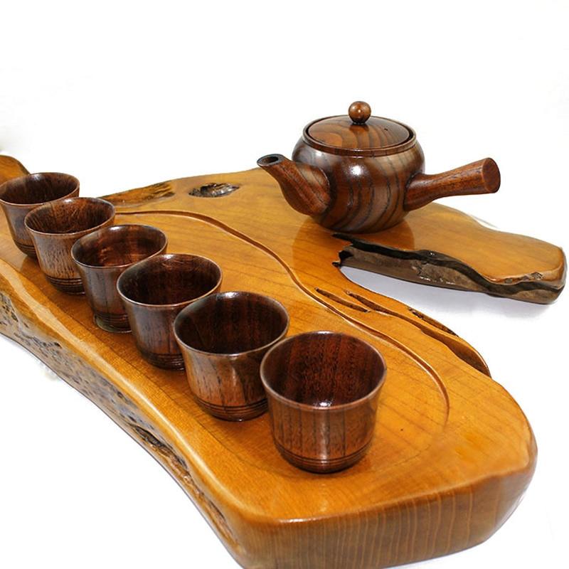 Set de thé chinois Kung Fu théière en bois avec poignée ensemble de tasse à thé beauté et la bête ensemble de verres à boisson faits à la main 6 + 1