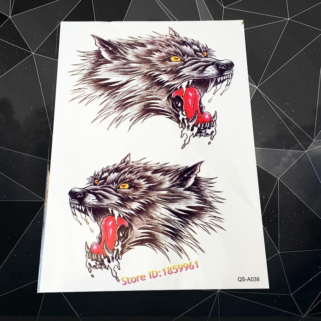 New Cool Wolf Tattoo Sleeve Sexy Men Body Chest Art Temporay Arm