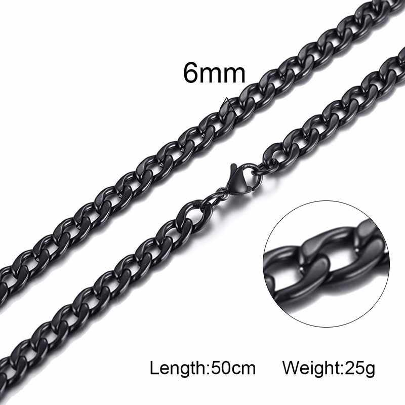 Черная Мужская массивная цепочка из нержавеющей стали в стиле хип-хоп для мальчиков с кубинской цепочкой 3 мм 4,5 мм 6 мм с 20 дюймов 24 дюйма