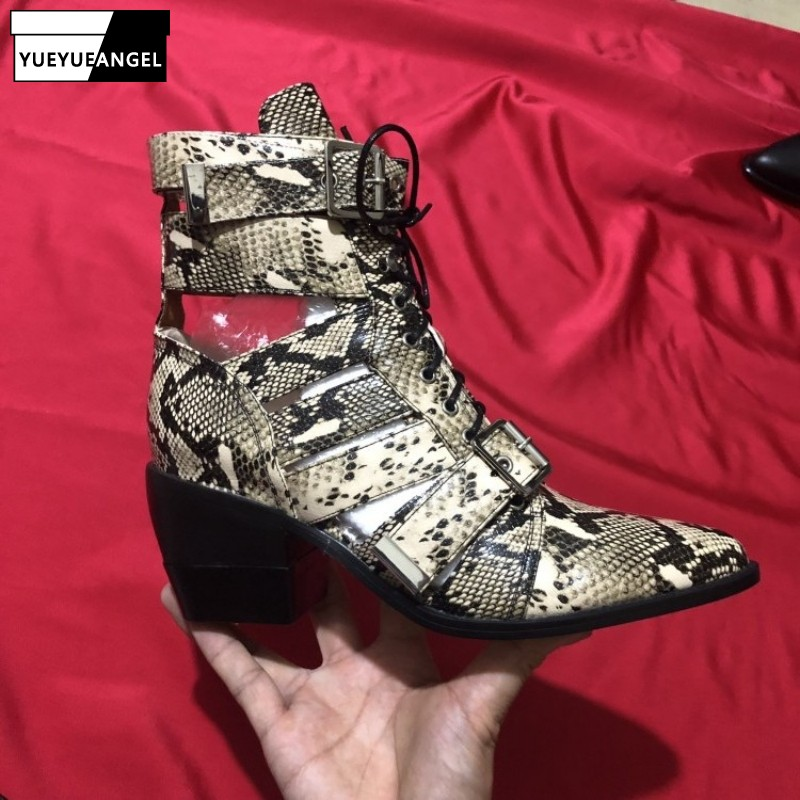 Runway High Heels Hollow Out Ankle Boots Women Summer Snake Print Shoes Sexy Chunky Heel Pointed Toe Lace Up Sandals Plus SizeRunway High Heels Hollow Out Ankle Boots Women Summer Snake Print Shoes Sexy Chunky Heel Pointed Toe Lace Up Sandals Plus Size