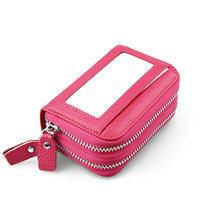 Candy Colors Genuine Leather Business Card Holder Wallet Bank Credit Card Case ID Holders Women Men