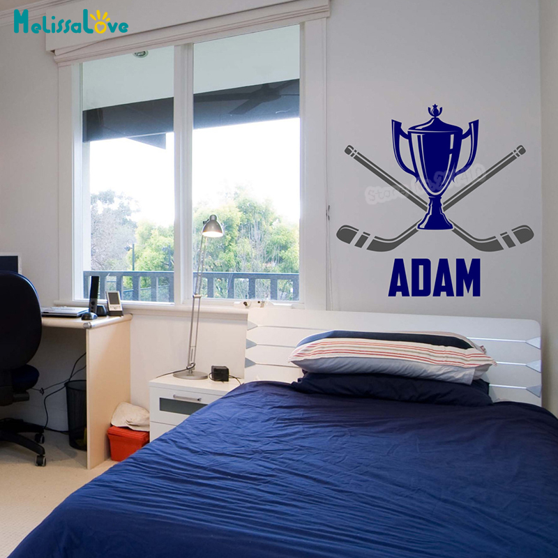 Home Decor Vendors: Aliexpress.com : Buy Hockey Champion Cup Wall Sticker With Personalized Name Decals Home Decor