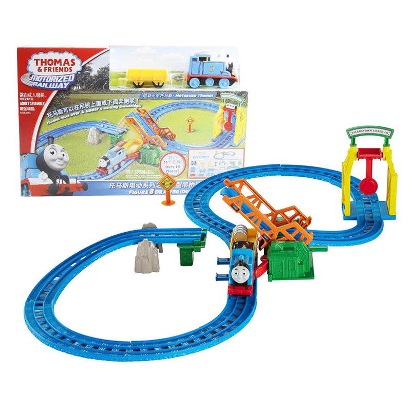 ФОТО Origina Brand Thomas And Friends Electric Series Double Track Set With Train DIY AssemblyEducational Toys Birthday Gift For Kids