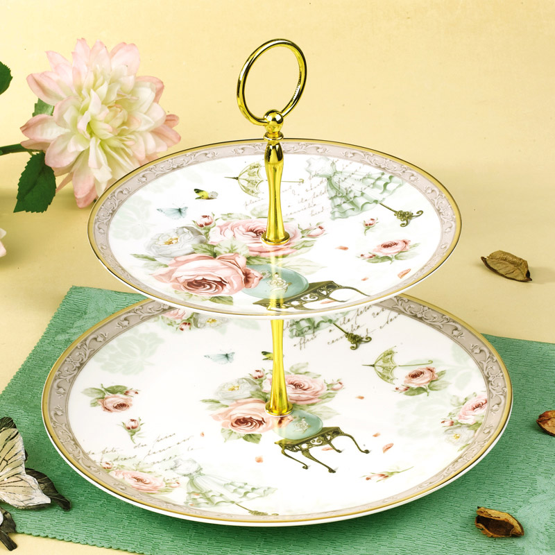 YeFine Cake Stand Holder Afternoon Tea Snack Double deck Candy Dishes Dessert / Pastry Plates Ceramic Tableware Wedding Gifts-in Dishes u0026 Plates from Home ...  sc 1 st  AliExpress.com & YeFine Cake Stand Holder Afternoon Tea Snack Double deck Candy ...