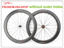 New Arrival !! FSC60CM-25U-2016T clincher tubeless ready carbon road cycling bike wheels , ED hubs light weight and Sapim aero