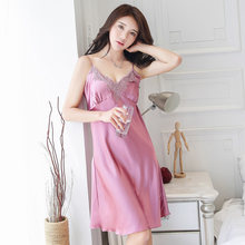 a9e8c99b72 Young Women Home Dress Nightgown Girls Sexy Lace Embroidery Sleepwear  V-neck Sling Lounge Bedgown Thin Slim Nightshirt Pajams
