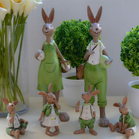 Pantanal Family Green Rabbit Figurines Animal Resin Art&Craft Friend Garden Home Office Decoration Wedding Gift L3298