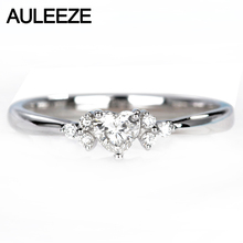 AULEEZE Romantic Flower African Real Heart Cut Natural Diamond 18k 750 White Gold Wedding Engagement Rings For Women Jewelry