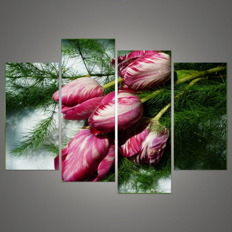 Online Shop Big Size Living Room Bedroom Wall Decor Home Decoration Tulips Colorful Flower Greenery Canvas Print Picture Painting H 383