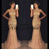 Sexy Beaded Mermaid Prom Dresses Vestido De Festa 2017 Halter Neck Sleeveless Shining Formal Evening Party