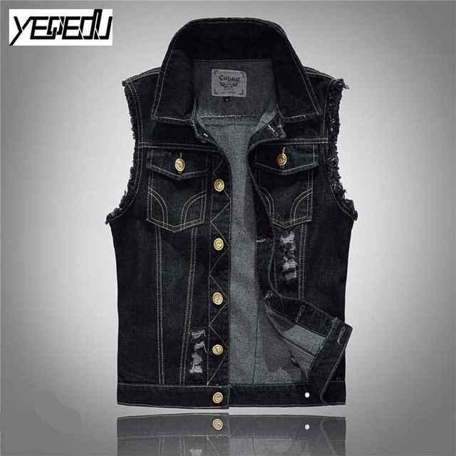 Favori 2412 2017 Noir jeans gilet De Mode Punk Gilet homme Vintage veste  XN87