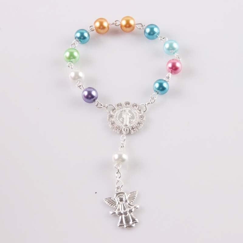 10 PCS Religious Bracelet Colorful  Glass Pearl Imitation Rosary Children's Communion Baby's Baptism Favors Catholic Mini Rosary