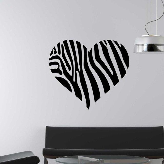 Zebra Strepen Muurtattoo Hartvormige Vinyl Stickers Voor Woonkamer ...