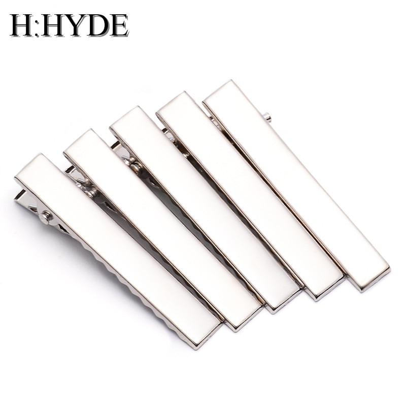 H:HYDE 5 Pcs Mens Skinny Tie Clip Pins Short Silver Men Metal Necktie Tie Bar Mens Chrome Clamp Stainless Steel Plain Tie Clip dgk script medium silver tie dye short sleeve page 1