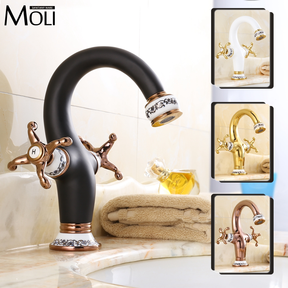 ФОТО Luxury chinese style bathroom sink faucet soild brass dual handle single hole faucet oil-rubbed bronze gold finish water tap