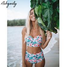 High Waist Swimsuit 2018 Sexy Bikinis Women Swimsuit Push Up Swimwear Floral Print Bikini Set Bathing Suit Swim Wear Plus Size