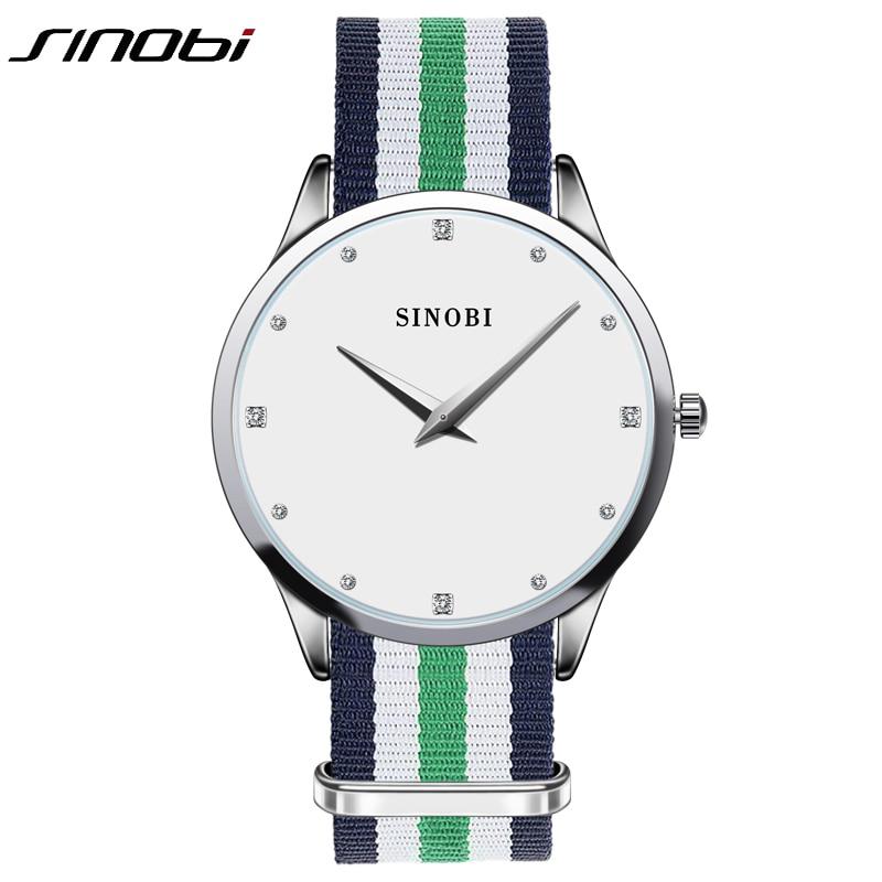 Sinobi Strap Wristwatch Diamond Ladies Classic Woman Brand Nylon Quartz Dail Mujer Japan