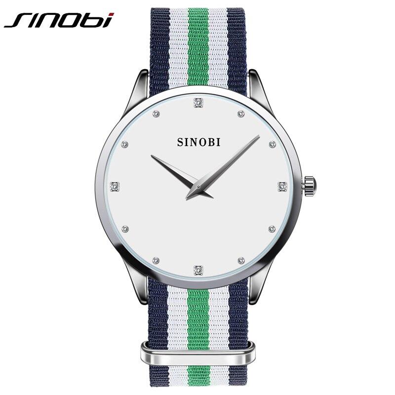 Ultra Slim Frau Casual quarzuhr Diamant Dail Damen Marke Klassische Nylonband Armbanduhr Japan 2016 relojes mujer Sinobi
