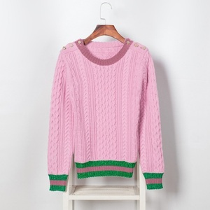 Image 2 - Runway Designer 2020 New Pearls Pink Sweaters Pullover Women Spring Winter Striped Female Knitted Jumper Christmas Clothes