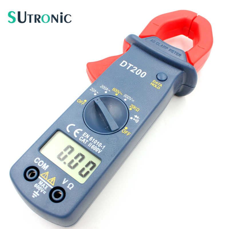 Digital Current Clamp Meter DT200 Current Voltage Resistance Buzzer Data Hold Non-contact Diode Detection Test LCD Display
