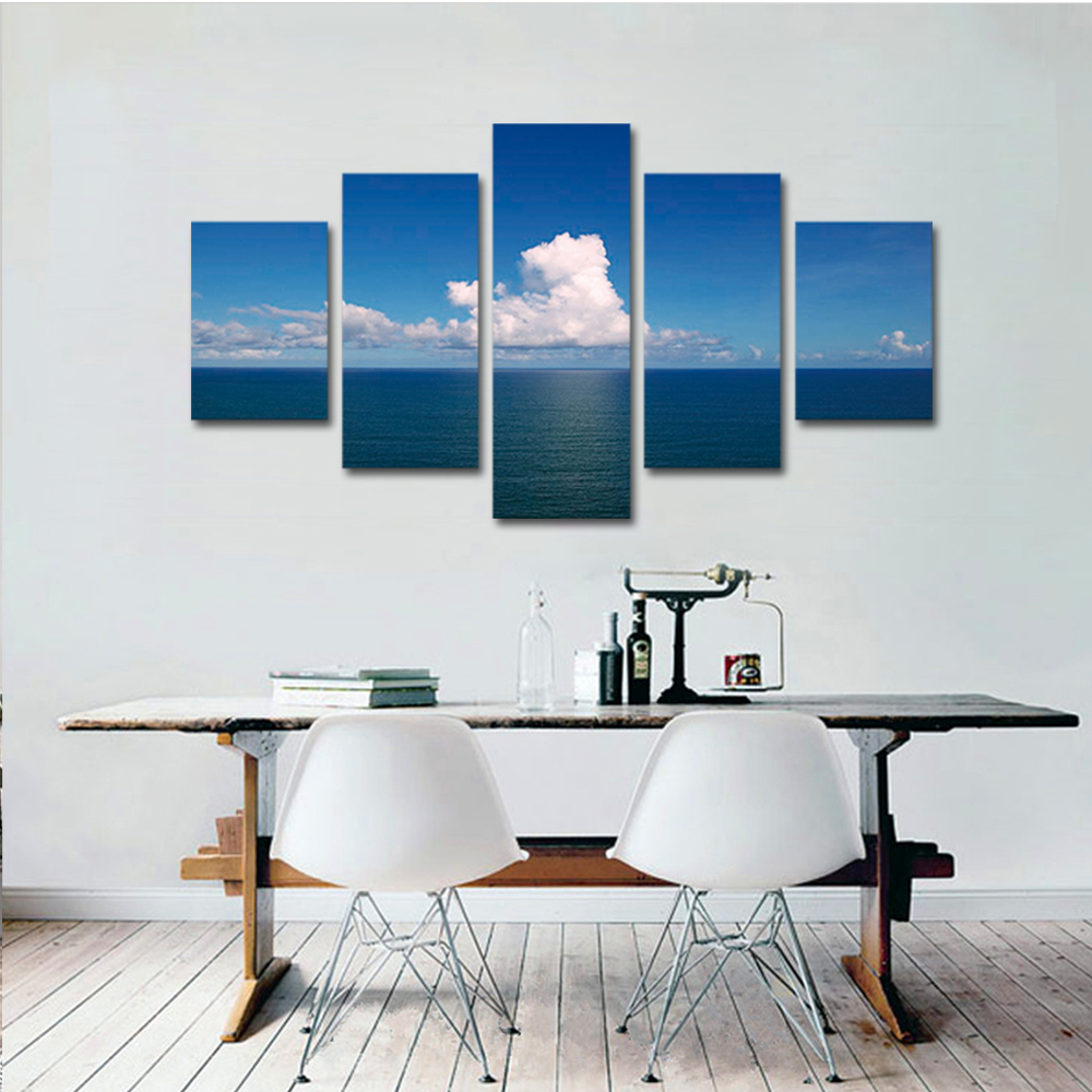 Unframed Canvas Painting White Clouds Sea Level Photo Picture Prints Wall Picture For Living Room Wall Art Decoration