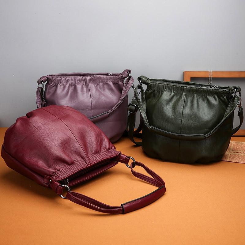 Leather Women's Handbags All-Match Shoulder Crossbody Bags Ladies Messenger Bag Women Bucket Bags Sac
