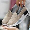 40 Tamaño Grande de Lino Transpirable Pivotar Los Zapatos de Cuña de Las Mujeres 2017 de Primavera Resbalón En Perder Peso Zapatos de Lona Ocasionales Femeninos calzado