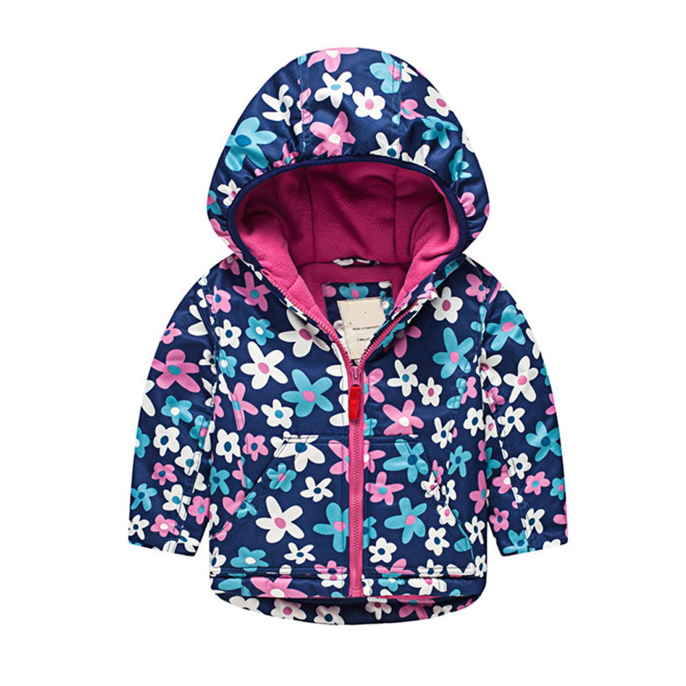 M63 Fashion Flowers Spring Autumn Child Thicken Padded Lining Jacket Hoodies Keep Warm Boy Girl Coat Tops Outwear Windbreaker m43 spring autumn winter child thicken padded lining jacket hoodies boy