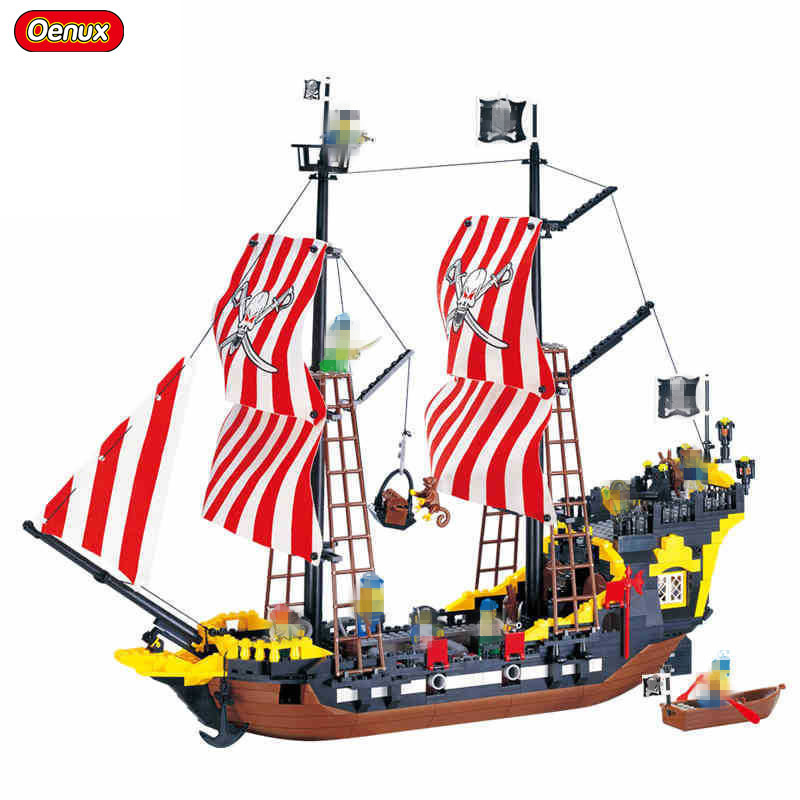 Oenux 870PCS Pirates Ship Series Black Pearl Model Building Blocks Toy Corsair Pirate Figures Bricks Toy For Kids Xmas Gift корпус corsair obsidian series 350d window cc 9011029 ww