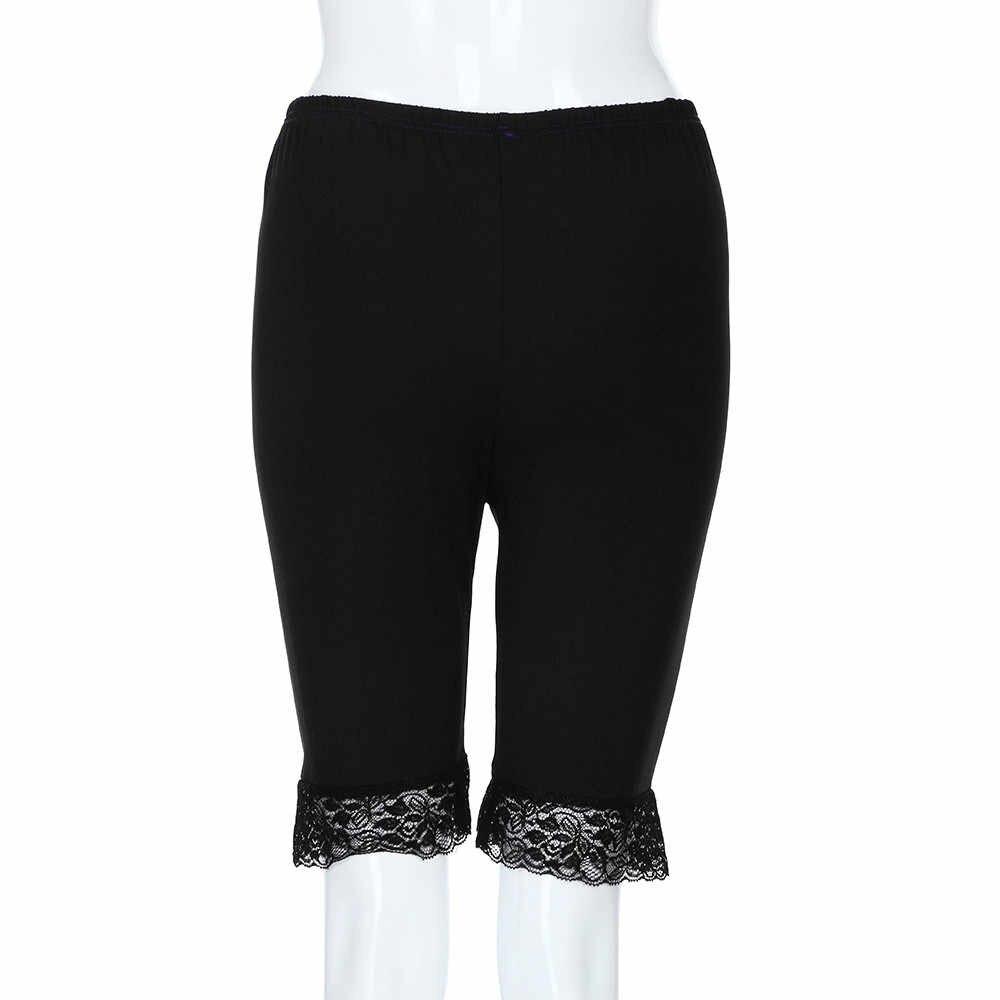 Kobiet Plus rozmiar w połowie talii koronki gorące spodenki elastyczne spodnie sportowe spodnie kufry
