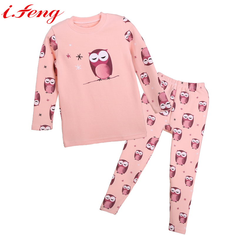 Online Shop i.feng Cotton Winter Kids Pajamas Girls Cute Owl ...