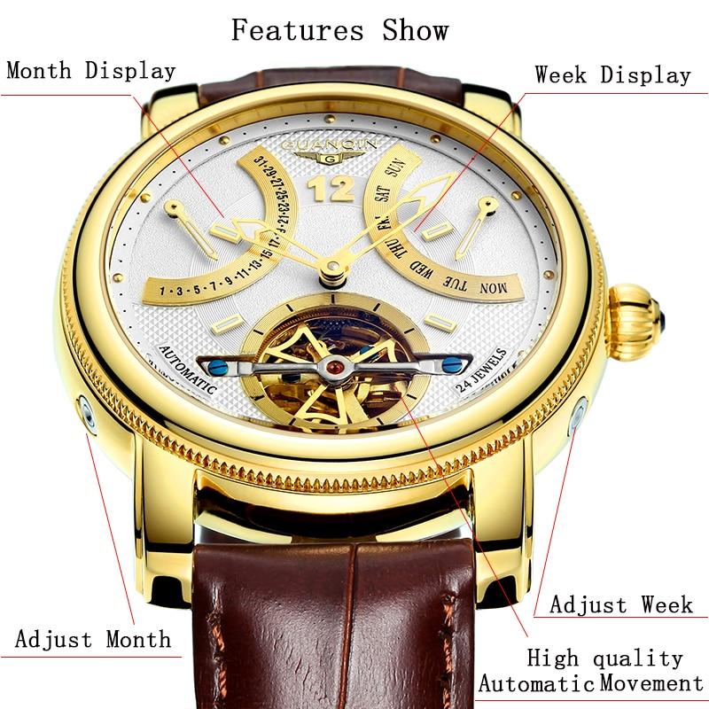 GUANQIN 2019 Mechanische Automatische klok waterdicht goud Merk Luxe Horloge Mannen Tourbillon Horloge week maand display Horloge-in Mechanische Horloges van Horloges op  Groep 2