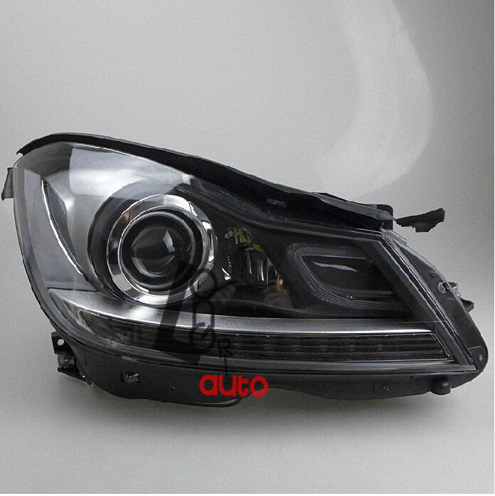 Headlights led drl and bi xenon projector for mercedes for Mercedes benz xenon headlights