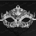 Роскошные серебряные, Черный, Золото 3 цвета элегантный металлический лазерная резка маски венецианский хэллоуин бал маскарад прямая поставка