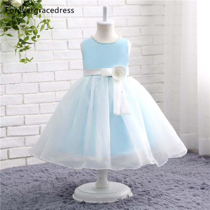 Forevergracedress Real Photos Pretty   Flower     Girl     Dress   Cute Crew Neck With Sashes Handmade Kids Pageant Children Gown