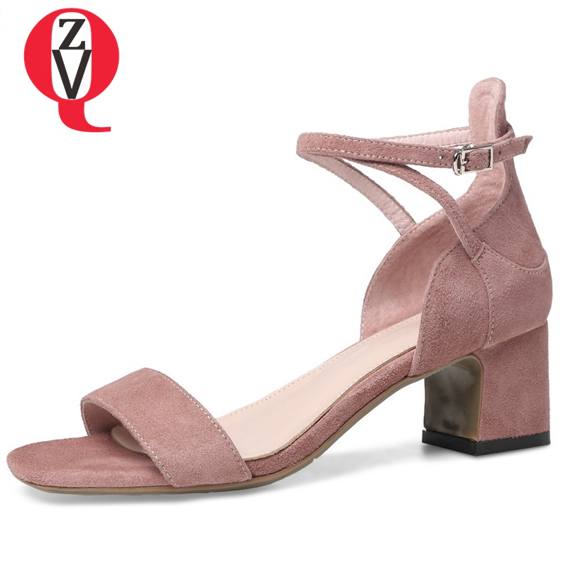 ZVQ summer 2018 new fashion square cover heel heel height 5.5 square toe cross-strap concise casual outdoor women sandals xiaying smile summer woman sandals fashion women pumps square cover heel buckle strap bling casual concise student women shoes