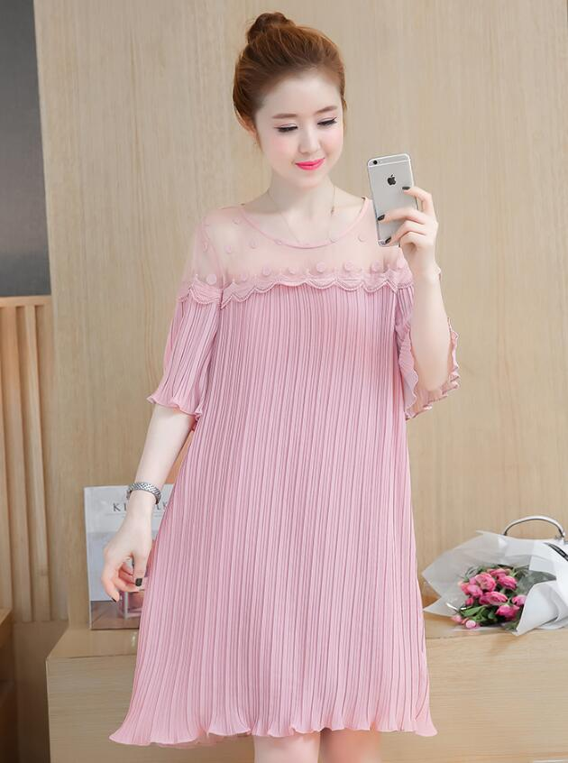2018 Summer new women's maternity dress was thin short-sleeved pleated chiffon pregnant women dress