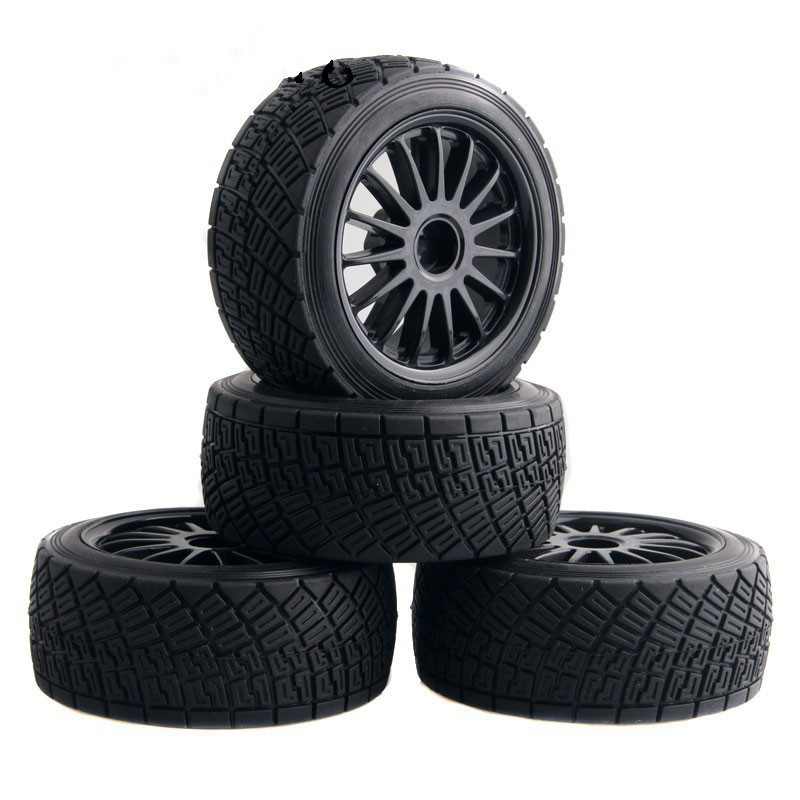 4PCS 80mm RC 1:10 On-Road Rally Car Rubber Tyres Tires Wheel Rim Black HPI WR8 & HSP 94177 4pcs aluminum alloy 52 26mm tire hub wheel rim for 1 10 rc on road run flat car hsp hpi traxxas tamiya kyosho 1 10 spare parts