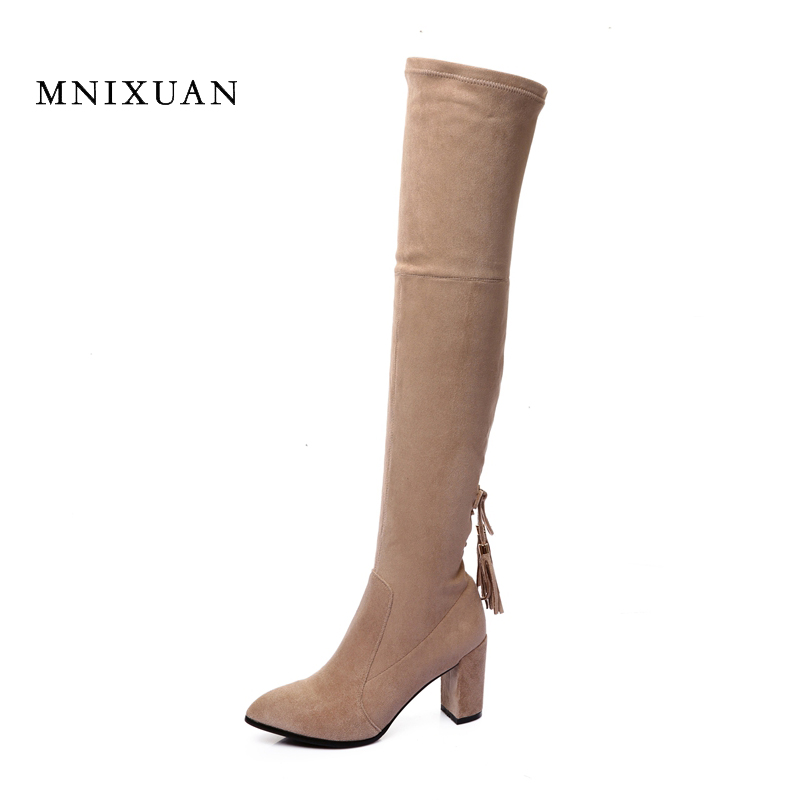 Faux suede boots over-the-knee women shoes 2017 autumn winter new arrival round toe lace fringe slim long boot block high heels enmayla winter autumn round toe low heel knee high boots women flats lace up shoes woman rider brown black suede motorcycle boot