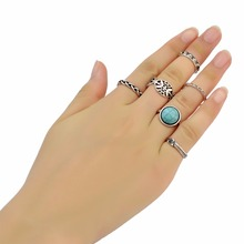 цена на 6Pcs/set Bohemia Turkish Retro Silver Fashion Finger Ring Natural Turquoise Hollow Out Nail Midi Knuckle Rings For Women Jewelry