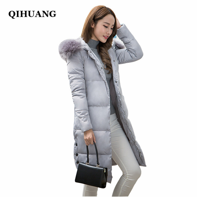 QIHUANG Fashion Long Hooded Parka Women Winter Jacket Top Quality Cotton Padded Zipper Covered Button Design Warm Coat For Women nike alliance parka 550 hooded
