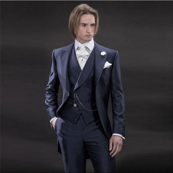 Navy Blue Tailcoat Long Jacket Men Suits Wedding Groom Tuxedos 3Piece Costume Homme Slim Fit Terno Masculino Formal Man Suits