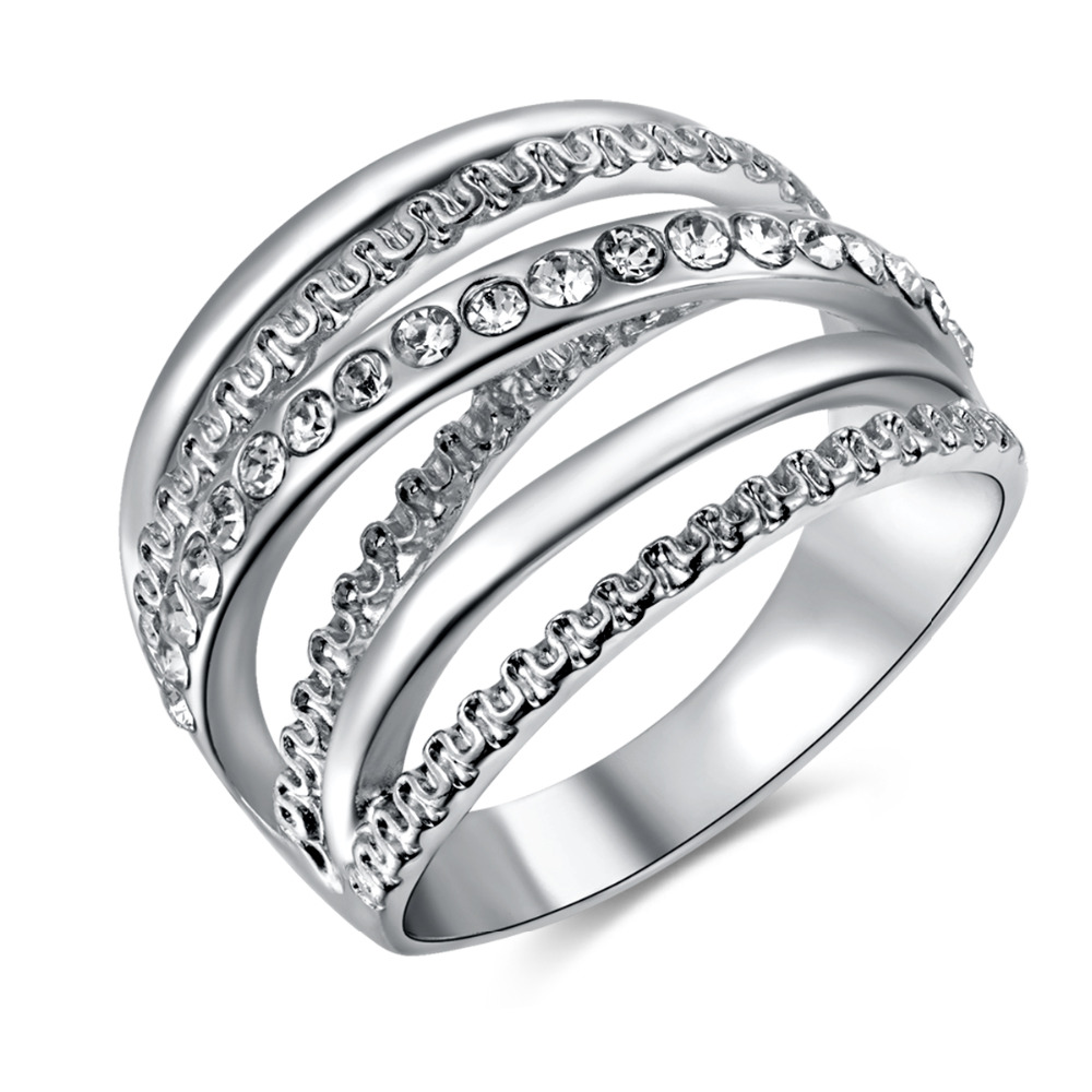 Romad Luxury Cubic Zirconia Crystal Finger Rings Multilayer Cross Silver Color Women Men Wedding Anel Aros Anillo Bague Z4