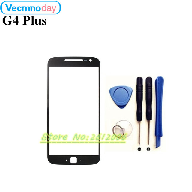 """Vecmnoday Black White for Motorola Moto G4 Plus Front Glass 5.5"""" Touch Screen Outer Panel Lens Repair Replacement Part+tools"""