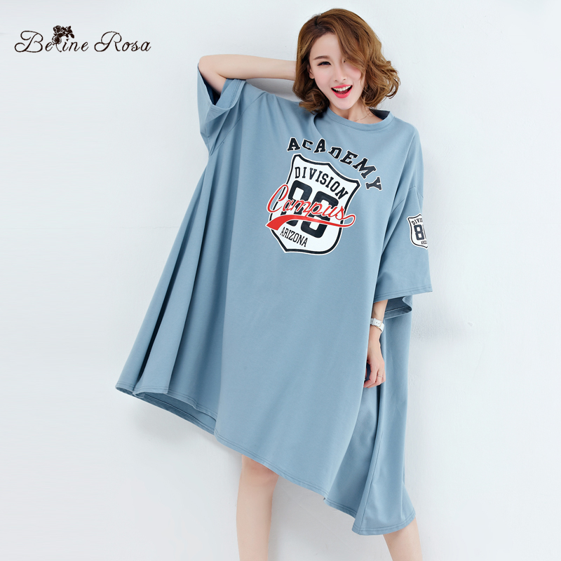 BelineRosa Spring European Street Style Trending Fashion Dress in Big Size Short Sleeve Bat Sleeved A line Shirt Dress XE000022