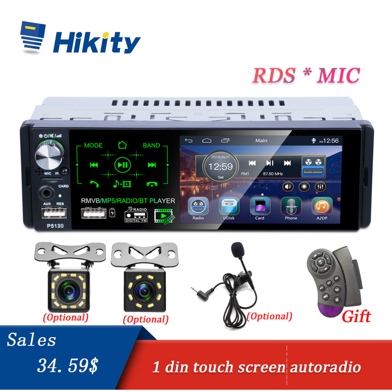 Hikity Car Radio 1 Din Car Audio 4.1 Touch Screen Car Stereo Multimedia MP5 Player Support RDS Bluetooth FM Dual USB Micphone image