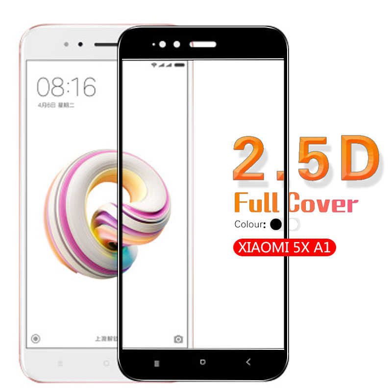 2.5D Arc Full Cover Tempered Glass Film For Xiaomi 5X A1 Screen Protector Glass Front Cover Film Glass White & Black Cover
