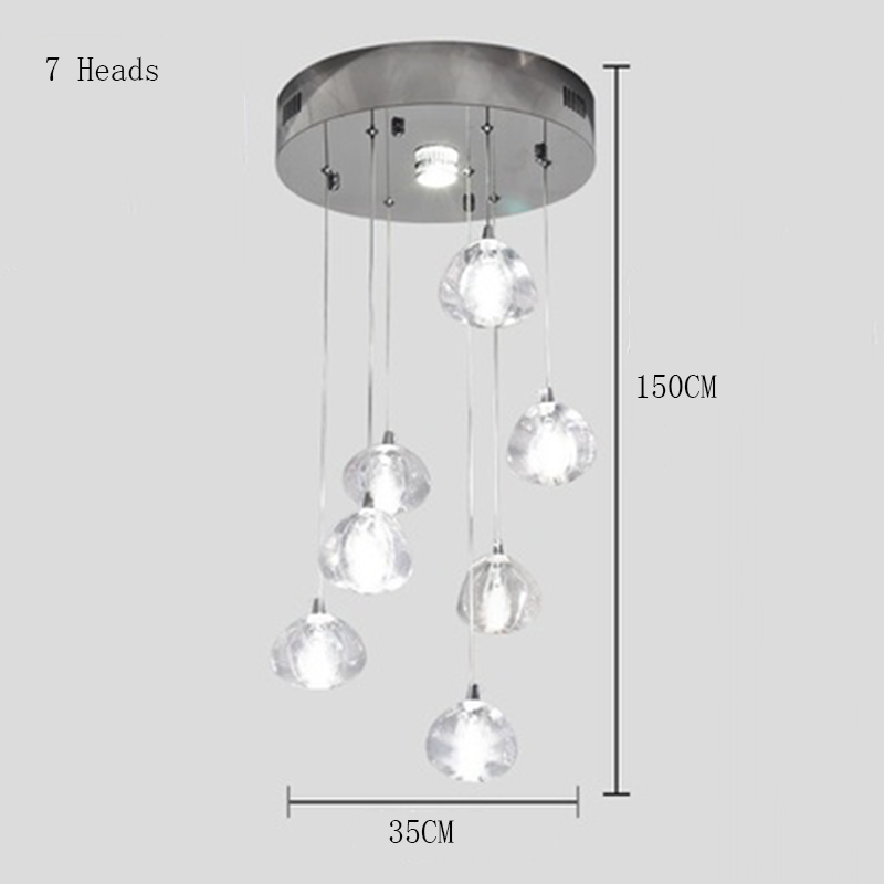 Современные светодиодные подвесные светильники, Хрустальная Подвесная лампа, составная лестница для зала, длинная лестница для гостиной, Подвесная лампа, освещение - Цвет корпуса: 7 Heads