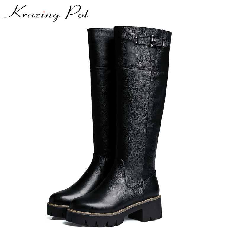 Krazing Pot/Новая натуральная кожа большие размеры зимние ботинки Обувь на высоком каблуке и платформе офисные женские основные европейские кол...