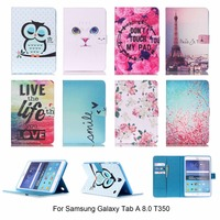White Cat Folding Stand Cover For Samsung Galaxy Tab A 8 0 T350 Case Magnetic Pu